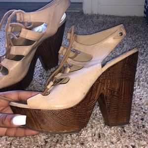 Guess open toe chunky lace up heel